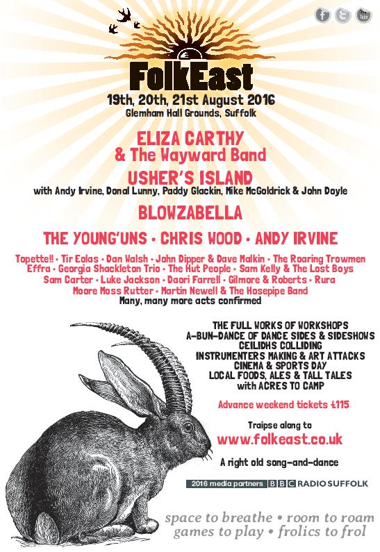 First wave of artists for FolkEast 2016 https://t.co/ue2ywQaV4Z .@FolkEast @elizacarthy @blowzabella https://t.co/3ic98AlNVo
