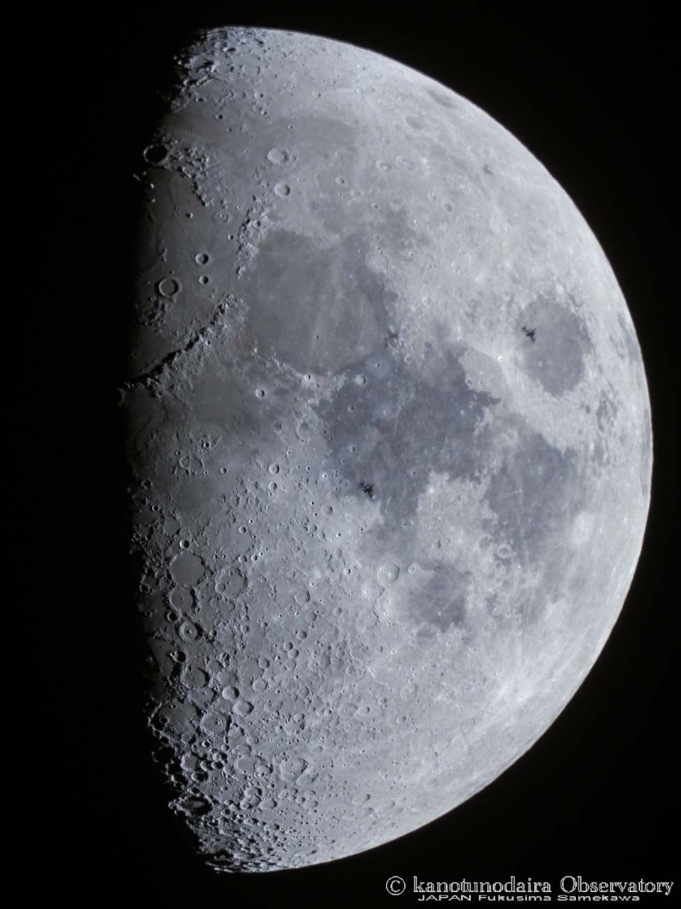 主鏡でISS(国際宇宙ステーション)の月面通過
