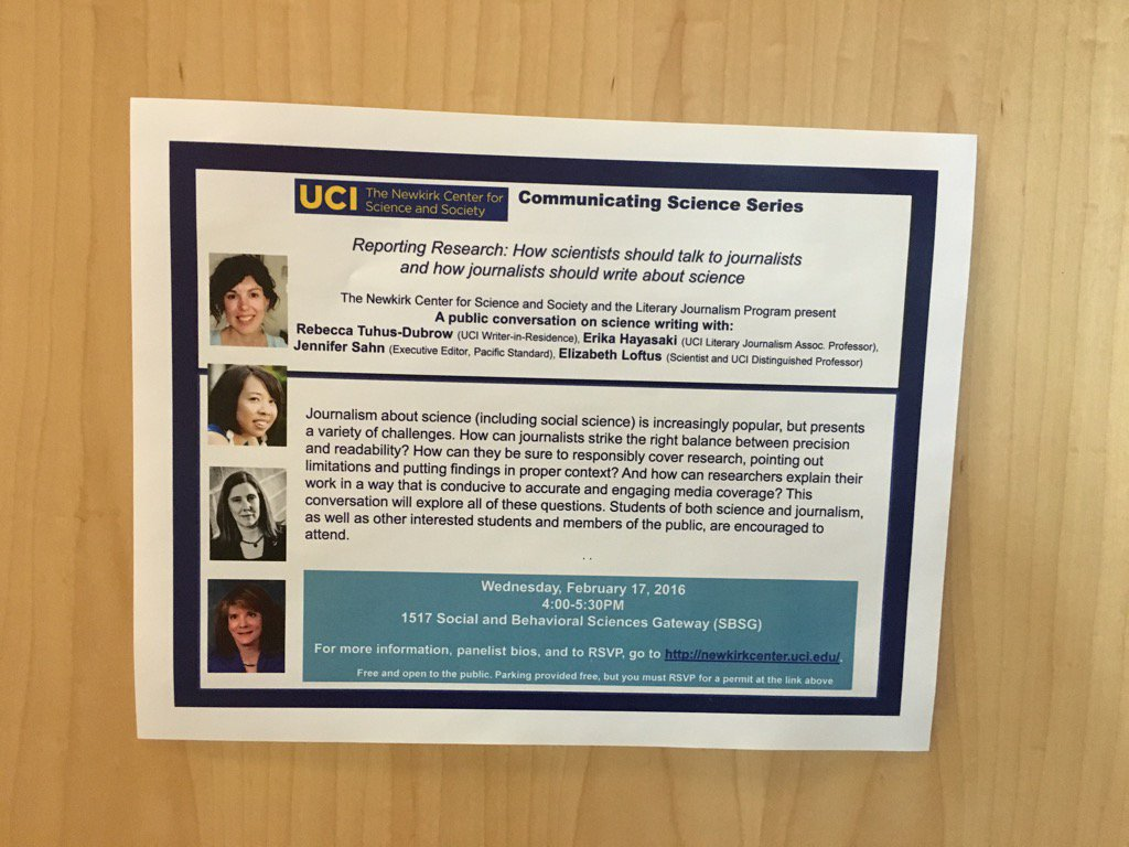 4-5:30 today, science reporting event here at UCI w/ @ErikaHayasaki of @UCILitJ @BeccaTuDu Elizabeth Loftus et al https://t.co/XvUb7jxxSD