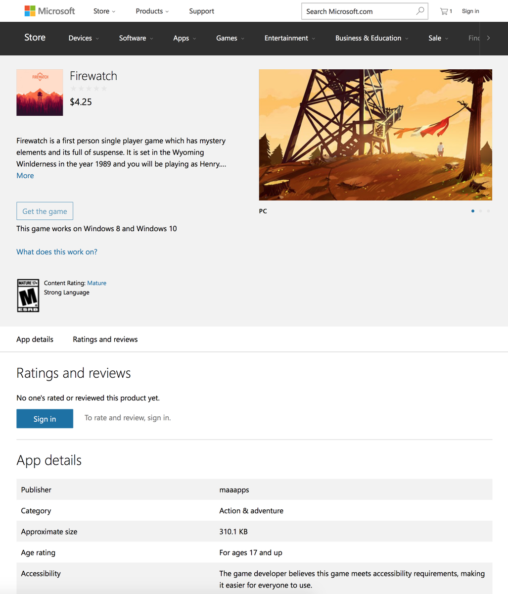 """Sasser Companies Inc: Cabel Sasser On Twitter: """"Oh, Firewatch Is In The"""