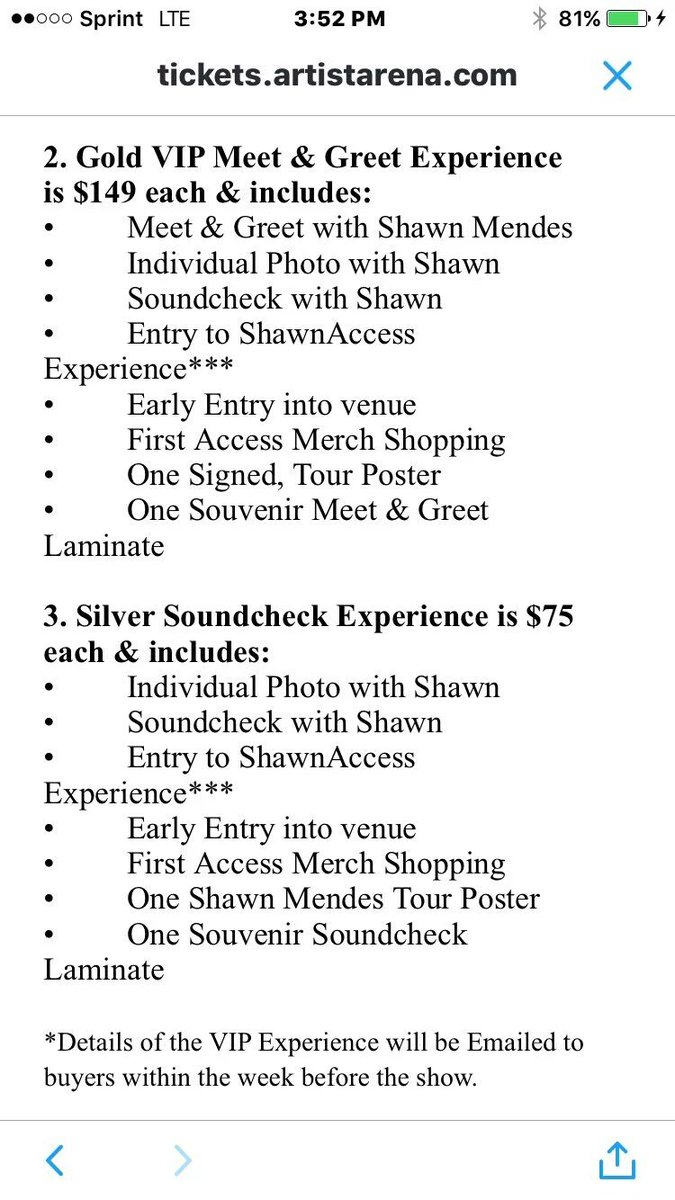 Shawn mendes updates on twitter there are 3 different vip packages shawn mendes updates on twitter there are 3 different vip packages 1 platinum mg experience 350 2 gold mg experience 149 3 m4hsunfo