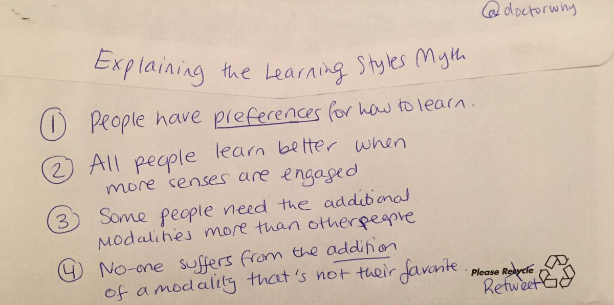 The Myth Of Learning Styles Debunked >> Learning Scientists On Twitter The Learning Styles Myth
