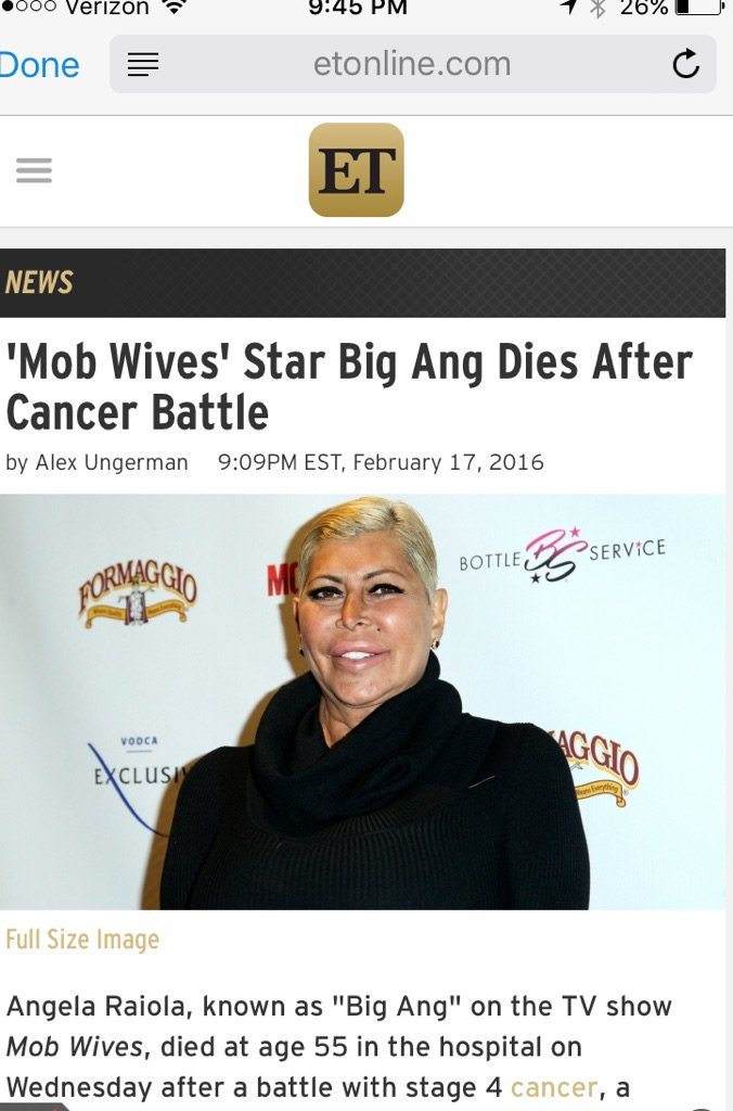 Entertainment Tonight reporting Big Ang died, but my sources say she's still alive. So gross to jump the gun for pvs https://t.co/CfHjUnh8rF