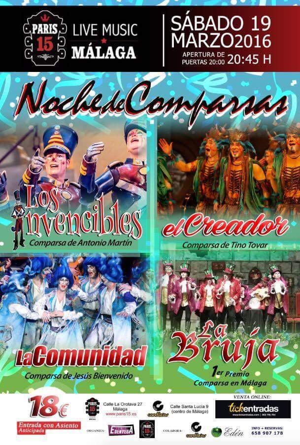 SORTEO 2 ENTRADAS HACIENDO RT  NOCHE DE COMPARSAS en Málaga  ENTRADAS EN https://www.tickentradas.com/eventos/carnaval-noche-de-comparsas-paris-15-malaga…