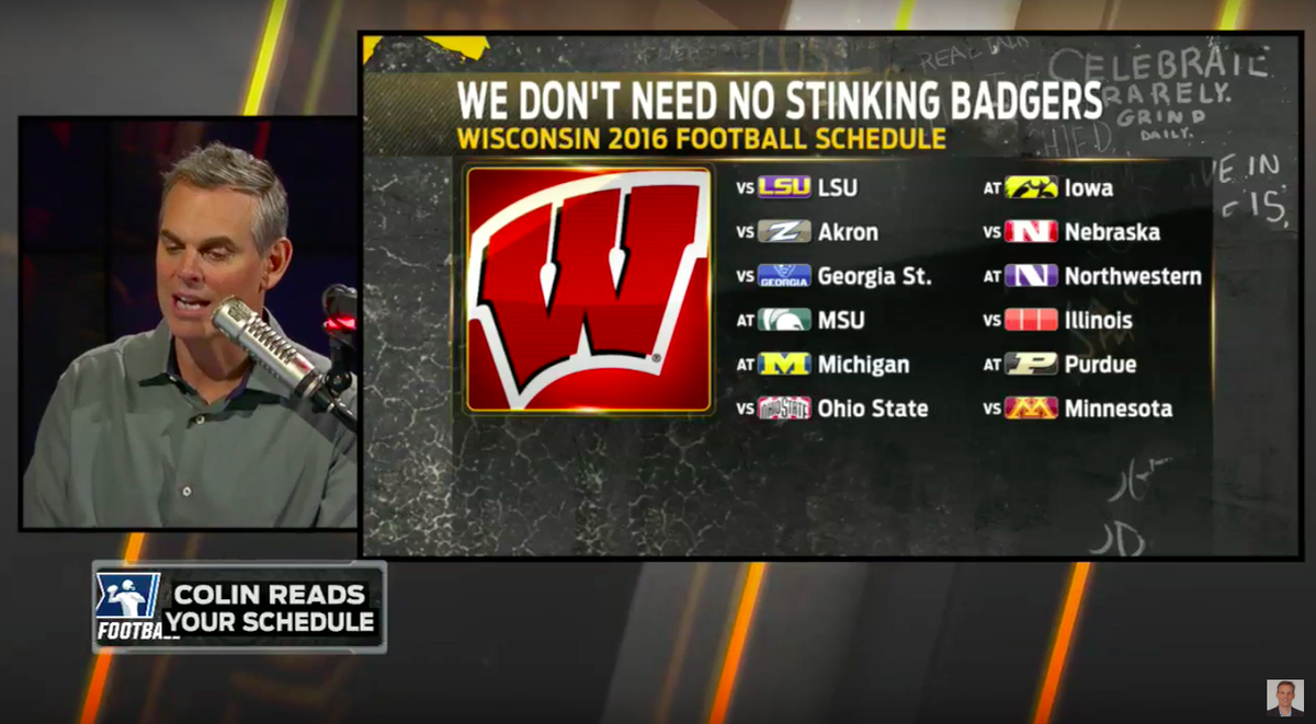 "wisconsin badgers on twitter: ""video: colin cowherd predicts grim"