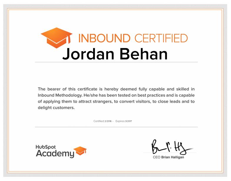 Jordan Behan On Twitter Dudes I Just Got My Inbound Certification