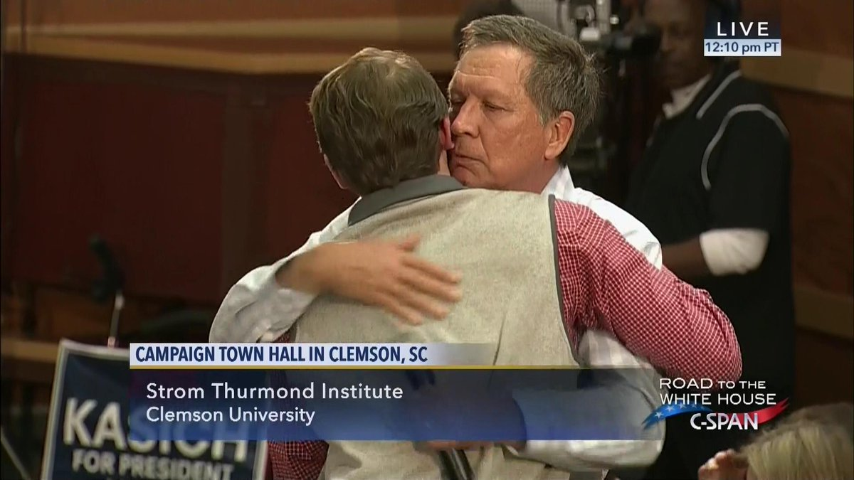 JUST HAPPENED: Emotional moment at Kasich town hall in SC .. C-SPAN VIDEO https://t.co/fhOGiYda8f https://t.co/HLt7yw5KEE