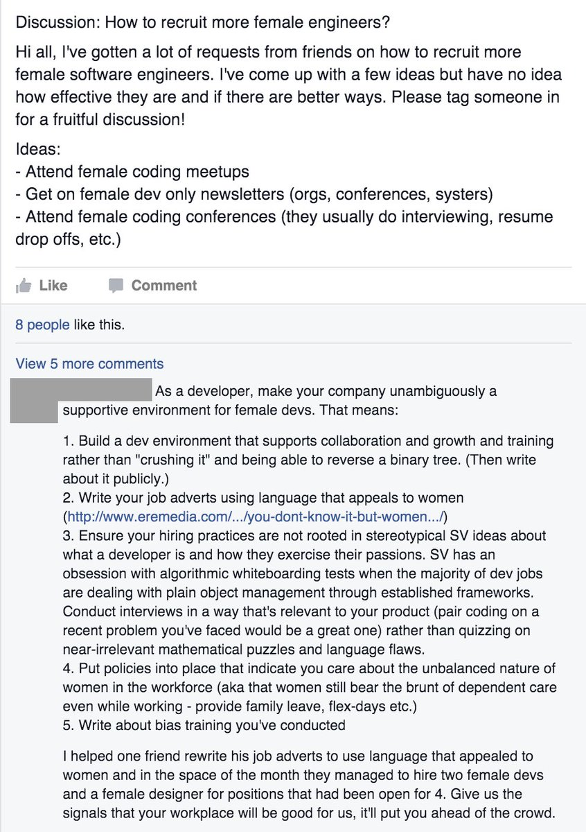 """""""How to recruit more female engineers?"""" — a great answer by @teacup: https://t.co/dJJr4cApKJ"""