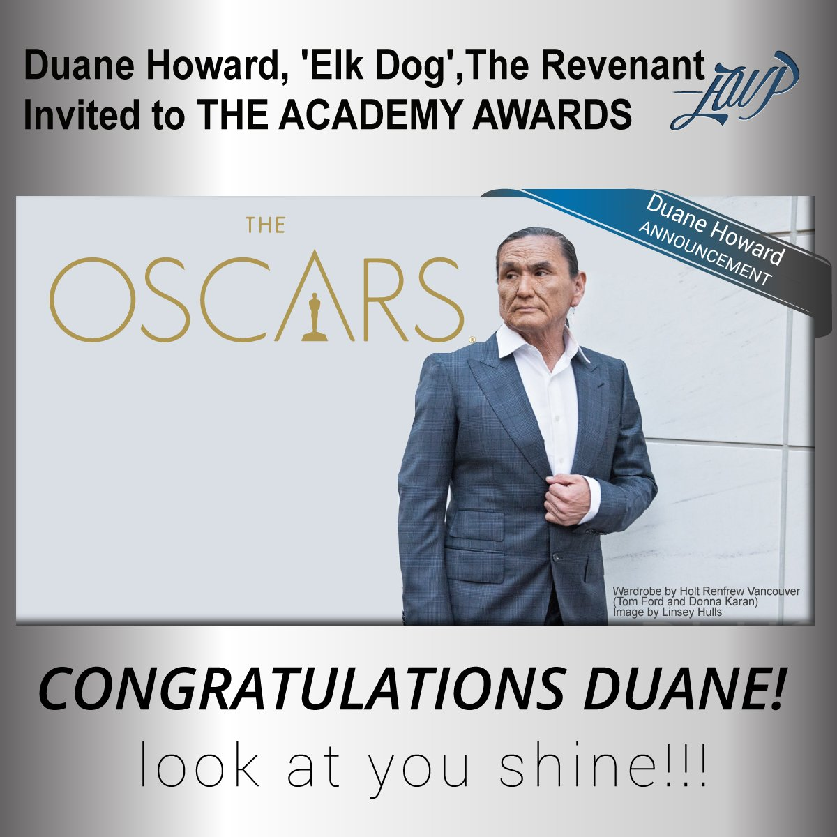 Big news! @DuaneE_Howard An invitation to join @RevenantMovie nominees at @TheAcademy is exciting! #TheOscars2016 https://t.co/QCwE2K2ygE