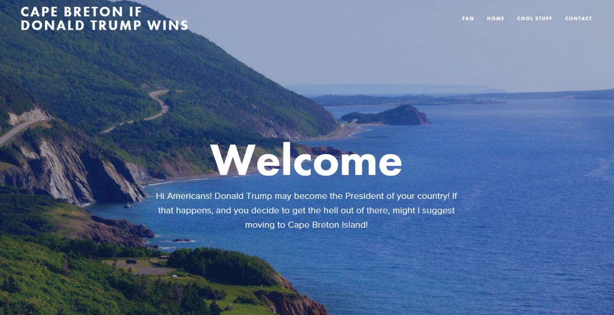 'Cape Breton if Trump Wins' site gathering U.S. interest...for real https://t.co/e39dZfI3JU https://t.co/xmmrhuSAkv