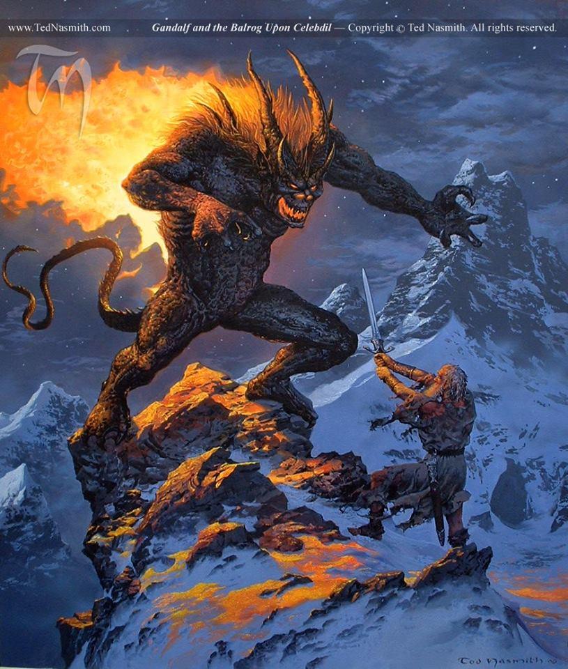 "Marcin Witkowski on Twitter: ""#Gandalf And The #Balrog art by @TedNasmith  #LOTR #Tolkien https://t.co/BHEajQofTp"""