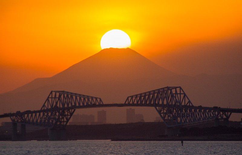 舞浜ディズニーシー堤防付近からのダイヤモンド富士。2月19日。目に優しい綺麗なダイヤでした。東京ゲートブリッジの上に富士山が来ます。#ダイヤモンド富士 https://t.co/YWBLSw2lbD