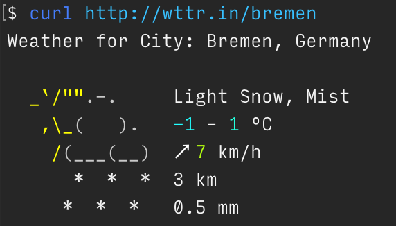 Intrigued by ascii weather report https://t.co/LIo9K0KAdx  (tail -f for real-time dashboards?) https://t.co/YOiPcGwwBH