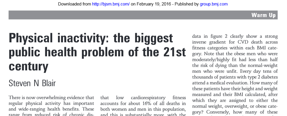 The Real 21st Century Problem In Public >> Bjsm On Twitter Classic Stevennblair Biggest Public Health