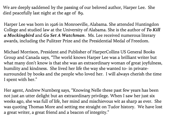 Full statement from @HarperCollins on the death of author Harper Lee https://t.co/ggcXW77ZcX