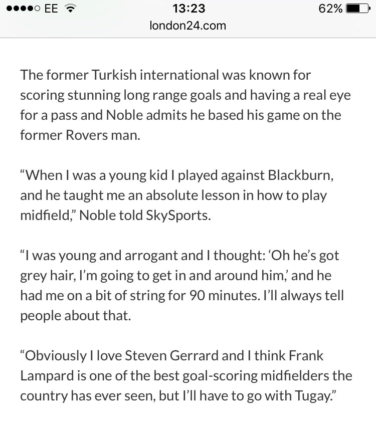 Here's West Ham's Mark Noble on Tugay, who is in his all time Premier League XI. https://t.co/aQNFIsICDc