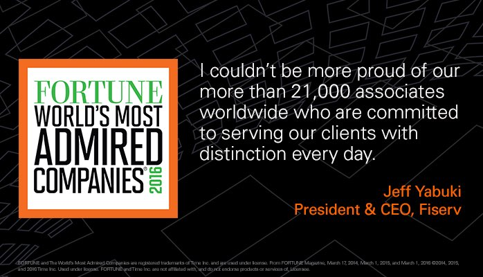 Honored to be named a @FortuneMagazine #MostAdmired Company for the third year in a row. #FISVProud https://t.co/Spfo11QMI2