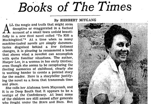 "The New York Times's reviews of Harper Lee's ""To Kill a Mockingbird"" from 1960. https://t.co/ZXelLhqqf3 https://t.co/1t6jXdD35b"