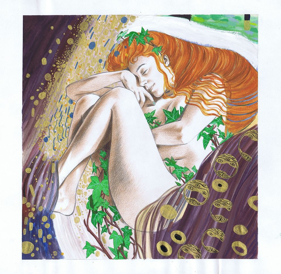 Thought you guys might enjoy this piece of artwork by my OH. Isn't it gorgeous? #PoisonIvy #DCComics #Klimt https://t.co/dtjvr09Hyb