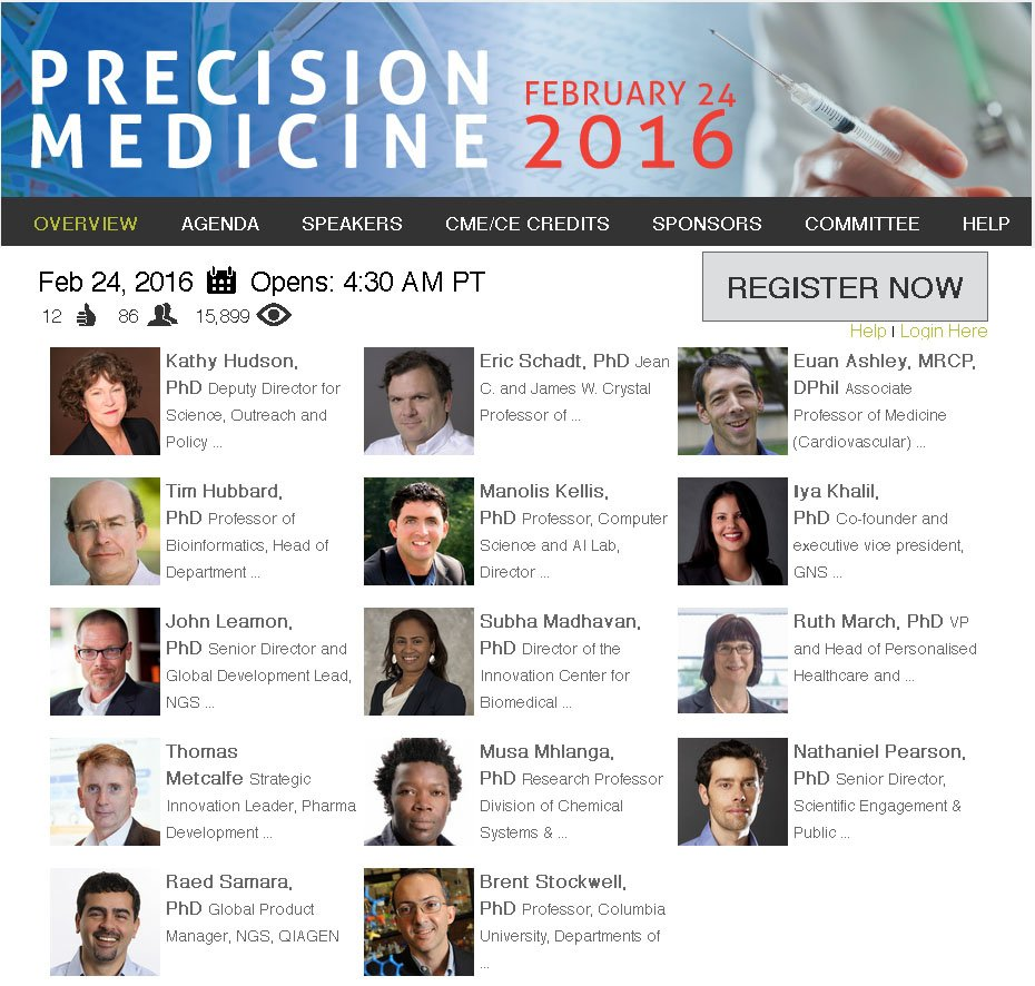 Excited to speak at @LabRoots #PrecisionMedicine webinar on 2/24 w/ @TimJPH EricSchadt et al https://t.co/qChxmo551L https://t.co/Dw3tUz7Pdw