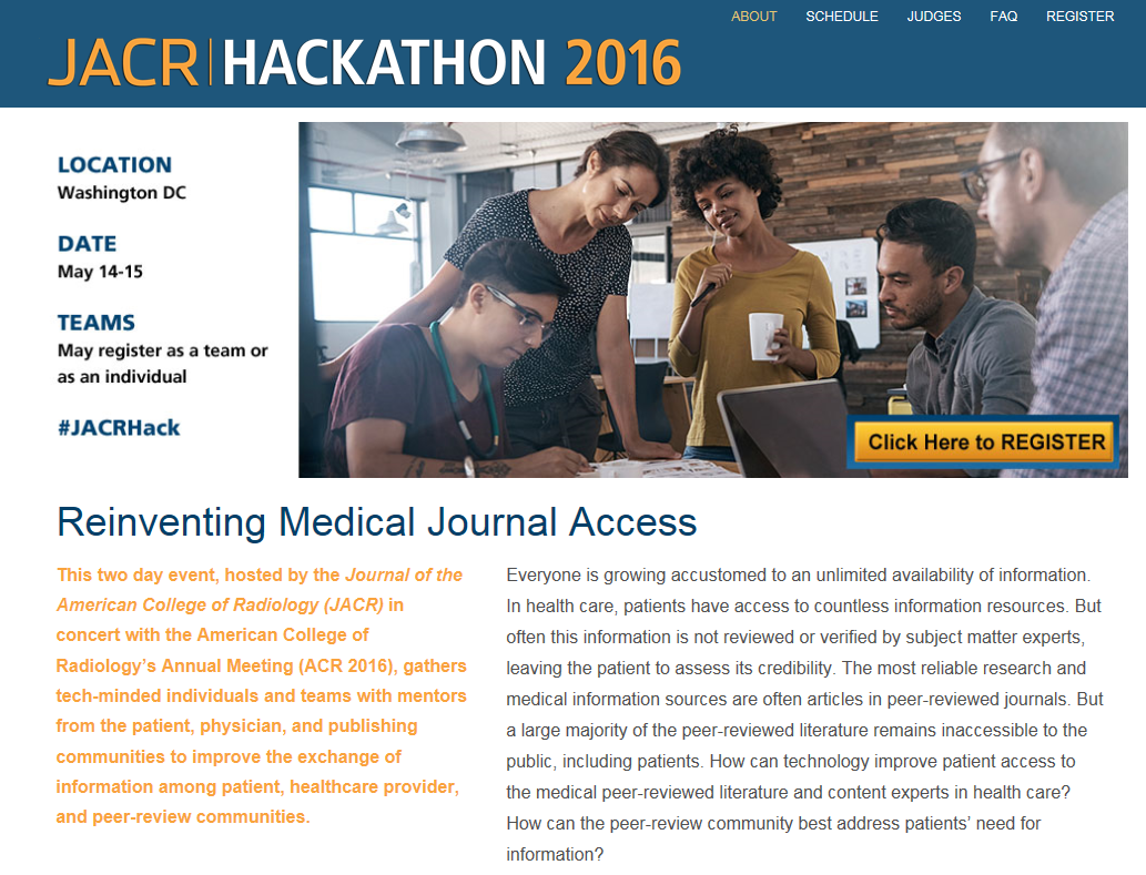 Reinvent access to peer-reviewed literature & make $$ too! https://t.co/jriHky1mhd May 14-15, 2016, WDC #JACRHack https://t.co/SXc8InNXZ2