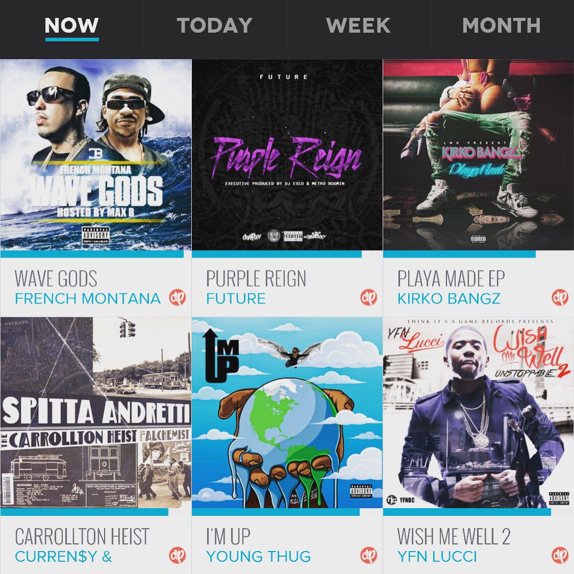The top 6 mixtapes being streamed RIGHT NOW in the @datpiff APP