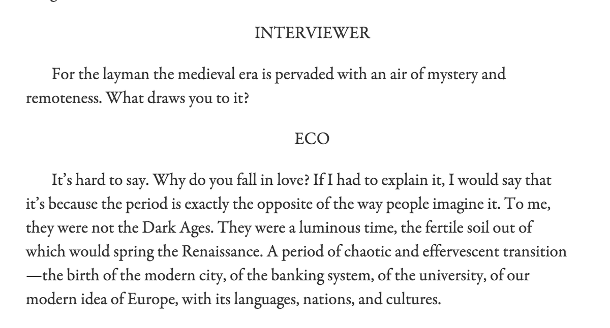 """I think that writing is an act of love."" —Umberto Eco, The Art of Fiction No. 197 https://t.co/O0nnqVXo2M https://t.co/PCdCtIGDJ7"