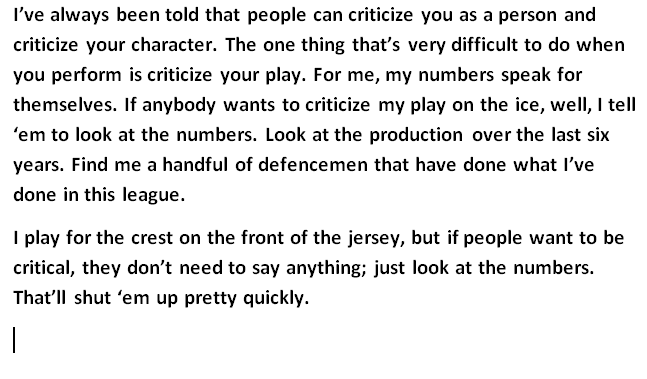 Possibly the best quote from P.K. Subban in 6 years, right here: https://t.co/0Qi3NzNTP1