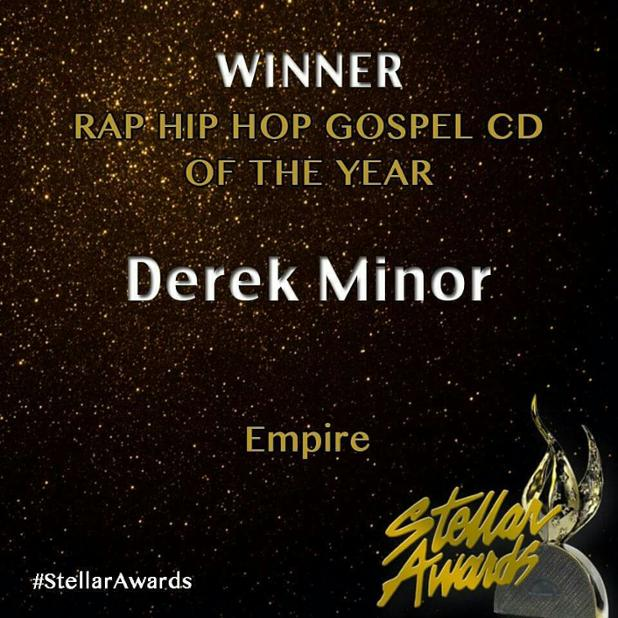 Congratulations to @thederekminor winner of the Rap Hip Hop CD of the Year Award for EMPIRE! #StellarAwards https://t.co/36PTdpBnjZ