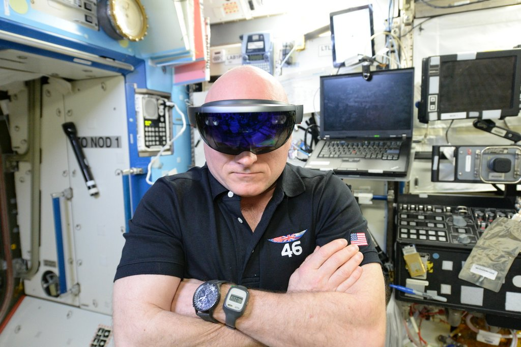 Astronaut shows off Microsoft HoloLens augmented reality in space