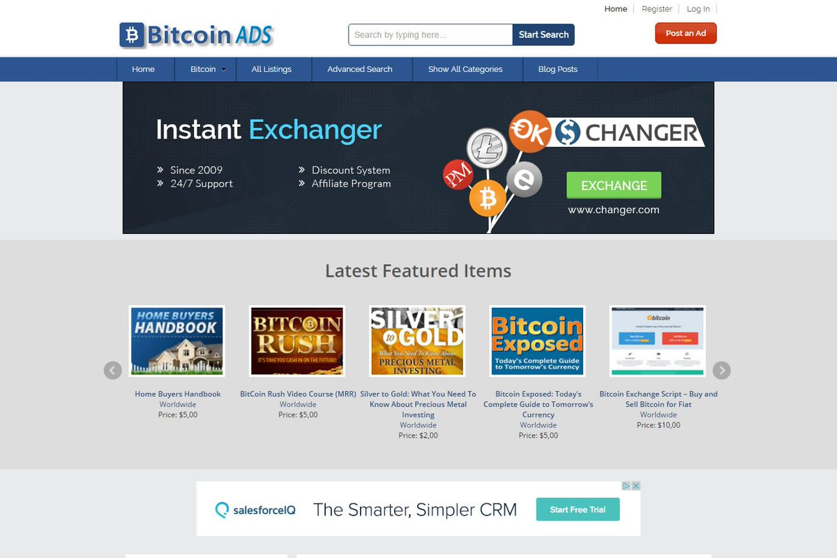 bitcoin advertising website