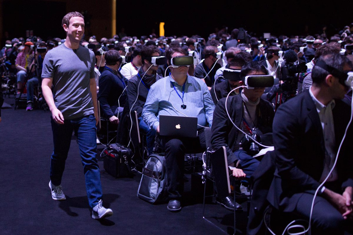 The internet is losing its mind over this photo of Mark Zuckerberg walking through a sea of people in VR headsets
