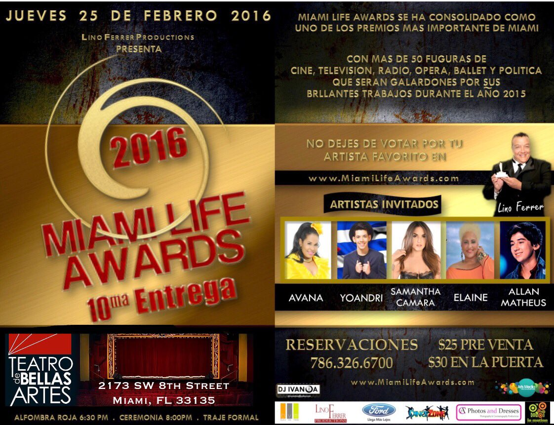 #MiamiLifeAwards 25 de febrero, Teatro de Bellas Artes.  Entradas $25 en https://t.co/J0B0Y446jn ¡No te lo pierdas! https://t.co/cCqcGgUDT6