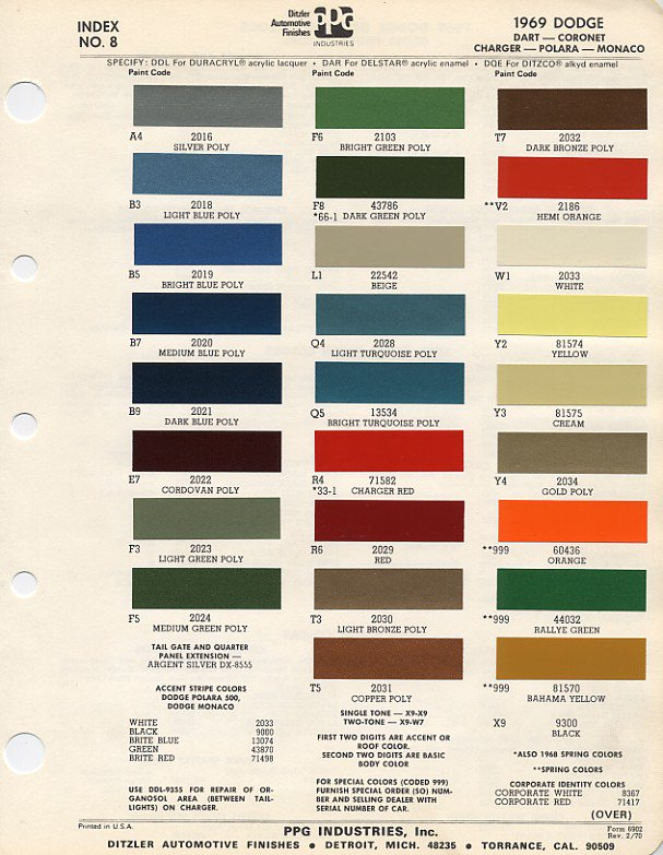 """Charles Marzec on Twitter: """"Dodge paint codes for 1969. # ..."""
