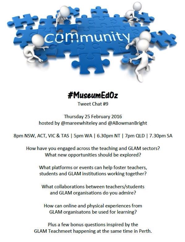 This Thursday we have a #MuseumEdOz pop up event w @mareewhiteley & @ABowmanBright 8pm Vic/NSW/Tas 5pmWA 7:30pmSA https://t.co/CXNerirZO6