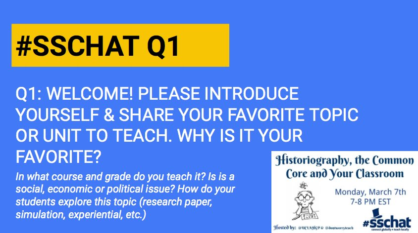 Q1: Welcome! Please introduce yourself & share your favorite topic or unit to teach.Why is it your favorite?#sschat https://t.co/87dWUmY1TQ