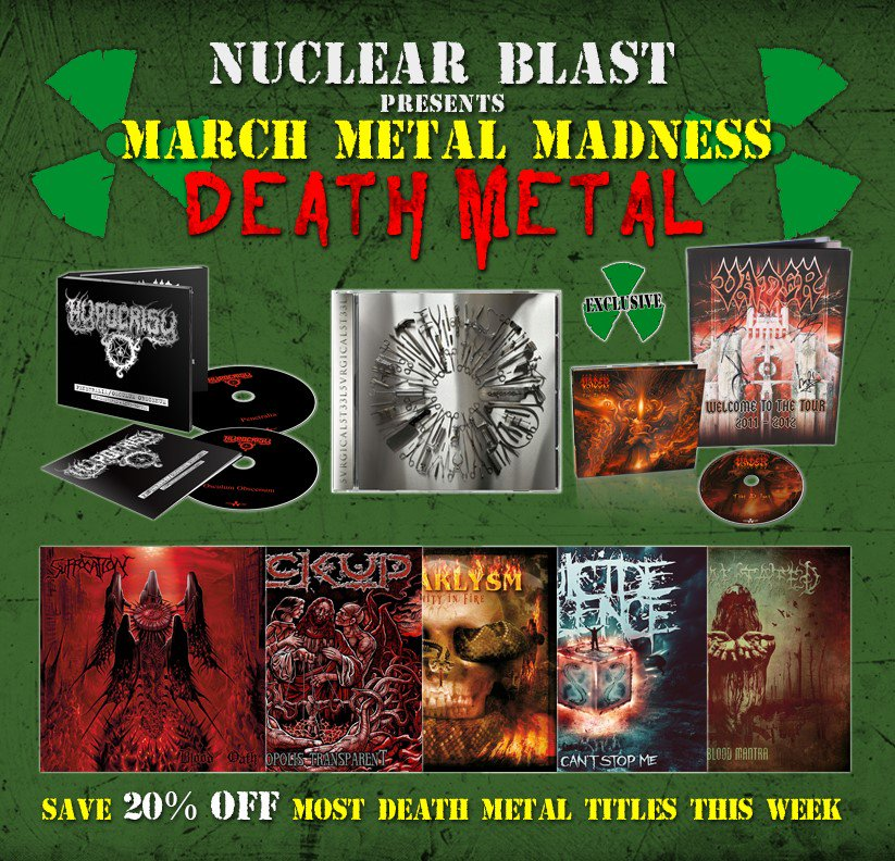 It's #MARCHMETALMADNESS at @nuclearblastusa! This week we feature our #DeathMetal bands! https://t.co/pJhCpGaqQf https://t.co/WtcCYs3y9F
