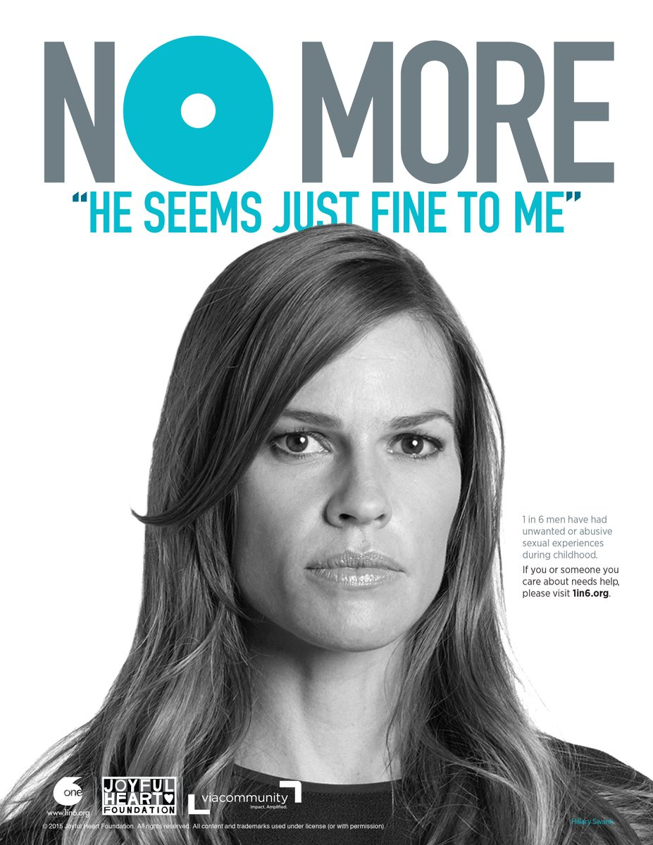 #MenToo experienced sexual abuse as children - 1 in 6 men, in fact. Learn more @ https://t.co/twPaqPog7t #NOMOREweek https://t.co/zCMq3Qn1zM