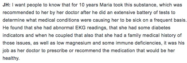 Sharapova's lawyer on her health condition : https://t.co/2UrylPPf8L