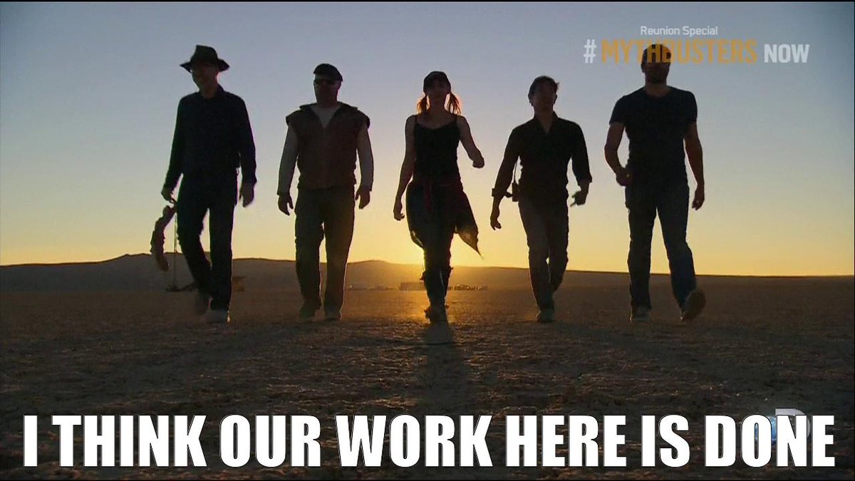 We are so sad to say it this time. Farewell. #MythBustersReunion