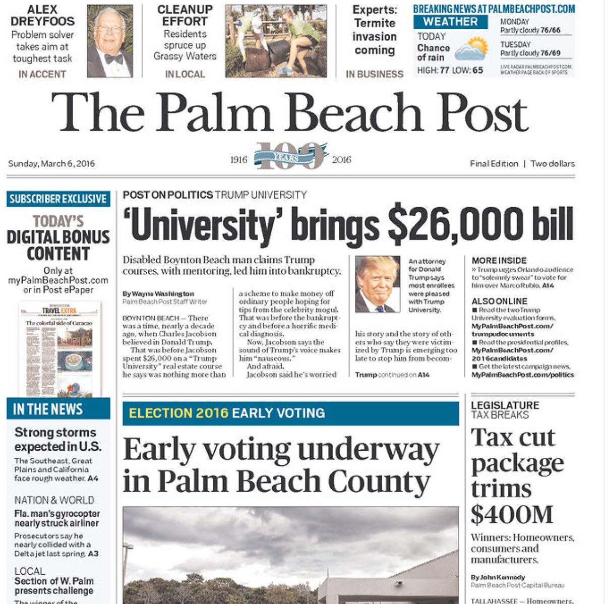 Trump University on the front page in FL... https://t.co/FZPirCCn5i
