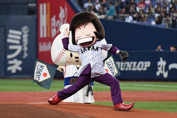 【侍ジャパンコラボ】本日、3月6日に京セラドームで開催されました侍JAPAN強化試合にて、イヤミが始シェー式に登場させて頂きました!侍JAPANは、二連勝!おめでとうございます! #おそ松さん pic.twitter.com/DT7eqZoJOi