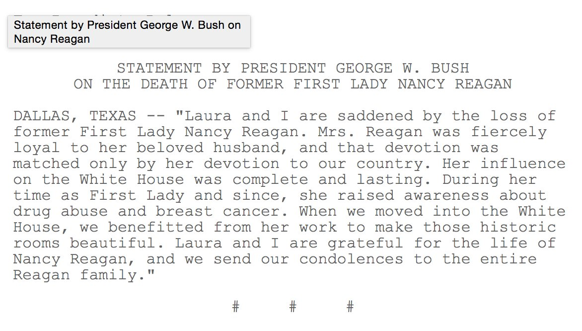 "Former President George W. Bush on Nancy Reagan: ""Her influence on the White House was complete and lasting."" https://t.co/rXgfr4k3RO"