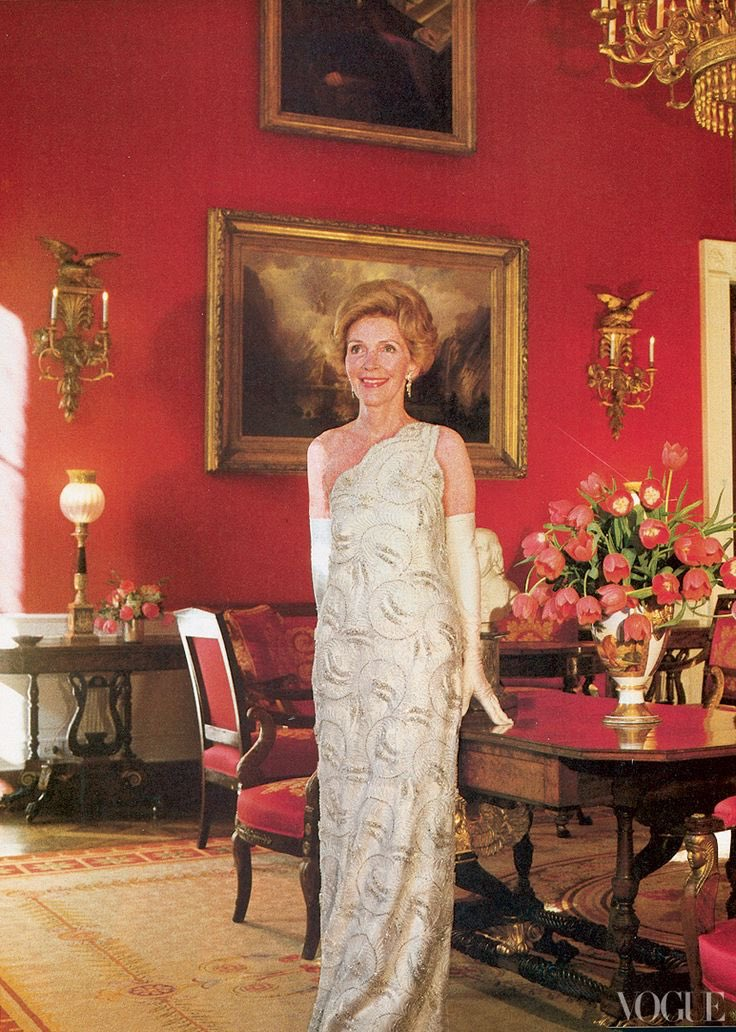 Nancy reagan in her 1981 inaugural gown by james galanos. as first ...