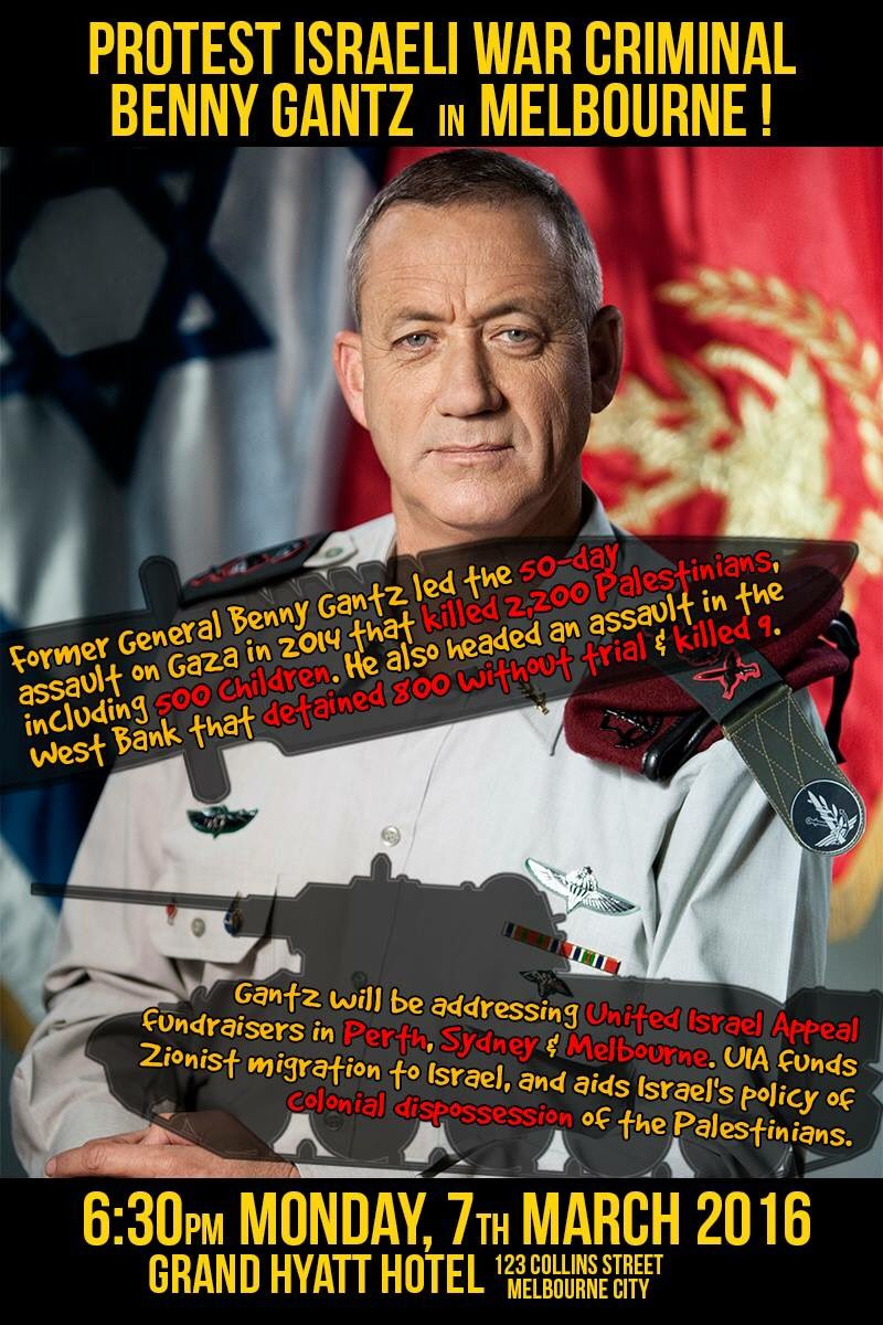 Protests planned in Melbourne over visit by Benny Gantz Cc5L7RCUUAAbrAd