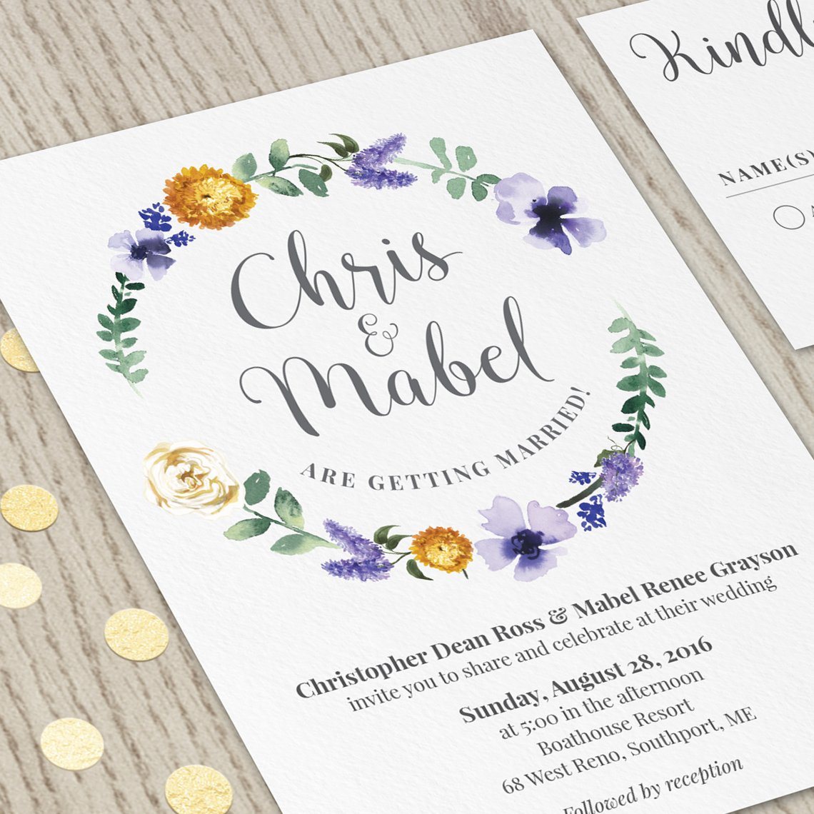 Hands In The Attic On Twitter Printable Personalized Fl Wedding Invitation Etsy By Handsintheattic Weddinghour Weddingkit