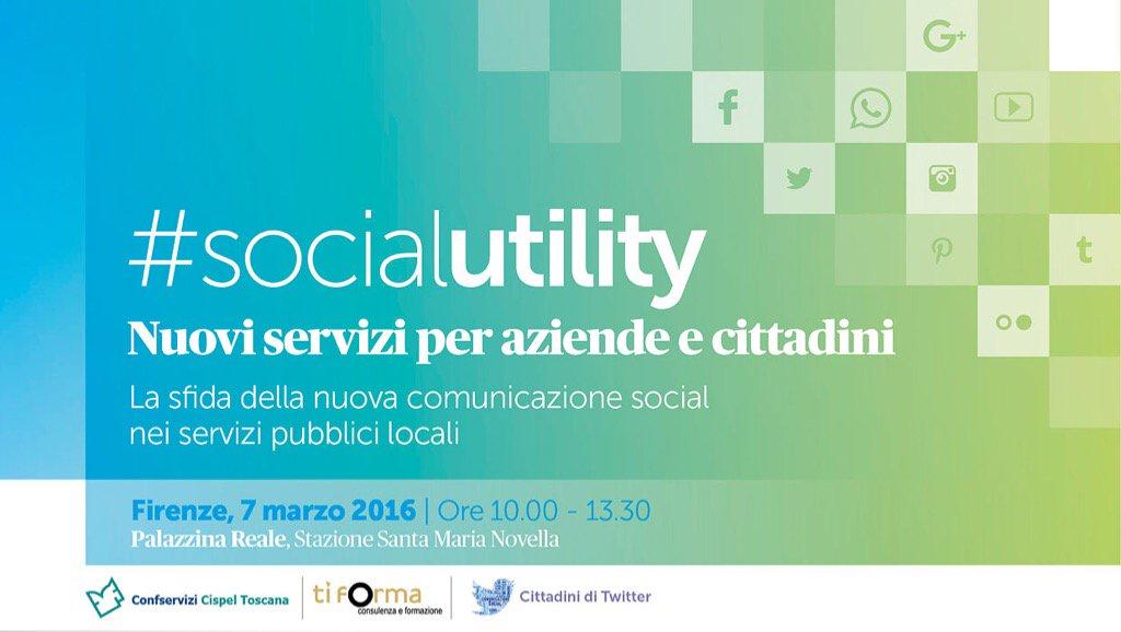 Alle 10 il via a #SocialUtility, la comunicazione 2.0 per aziende e cittadini. A #Firenze con @CittadinidiTwtt https://t.co/TMEuCjTyEM