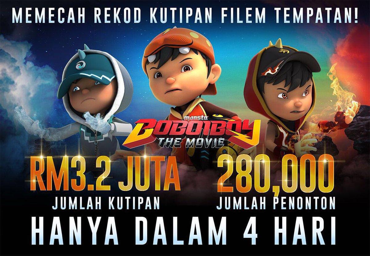 JUMLAH KUTIPAN FILEM BOBOIBOY THE MOVIE SELEPAS 4 HARI TAYANGAN !