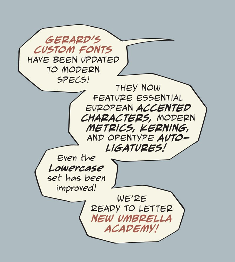 Updates on @gerardway's custom fonts complete! #UMBRELLAACADEMY https://t.co/XapVFfgFF0