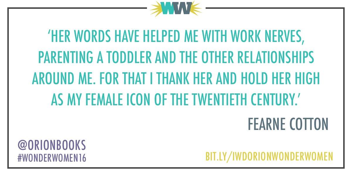 RT @onebooklane: .@Fearnecottonshares her literary heroine to celebrate #IWD2016 #WonderWoman16 https://t.co/KZxsZdZzZz https://t.co/sMI90…